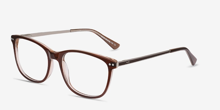 Grid Brown Acetate Eyeglass Frames from EyeBuyDirect, Angle View