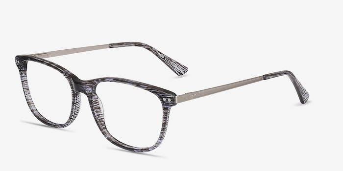 Grid Striped Acetate Eyeglass Frames from EyeBuyDirect, Angle View