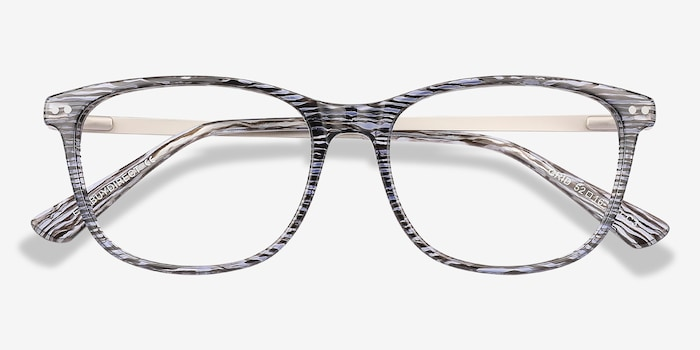 Grid Striped Acetate Eyeglass Frames from EyeBuyDirect, Closed View