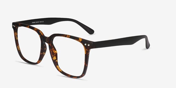 Piano Tortoise Plastic Eyeglass Frames from EyeBuyDirect, Angle View