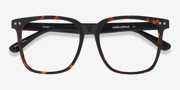 Piano Tortoise Plastic Eyeglass Frames from EyeBuyDirect, Closed View