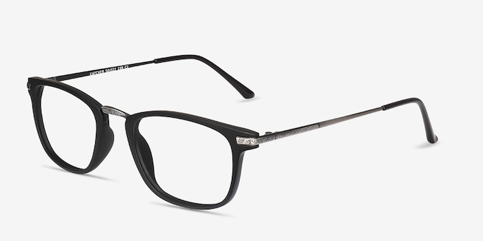 Catcher Black Metal Eyeglass Frames from EyeBuyDirect, Angle View