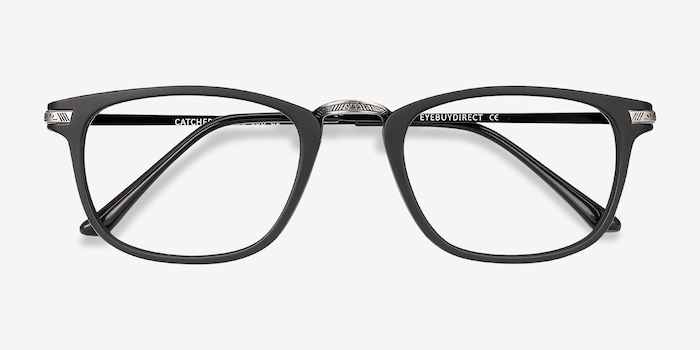 Catcher Black Metal Eyeglass Frames from EyeBuyDirect, Closed View
