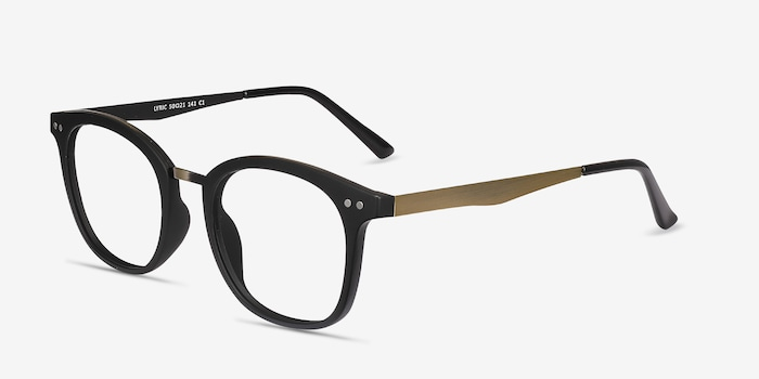 Lyric Black Plastic Eyeglass Frames from EyeBuyDirect, Angle View