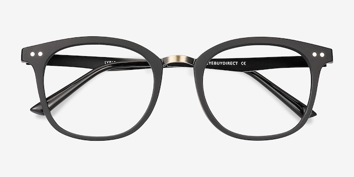 Lyric Black Plastic Eyeglass Frames from EyeBuyDirect, Closed View