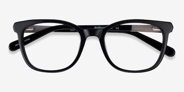 Kat Black Acetate Eyeglass Frames from EyeBuyDirect, Closed View