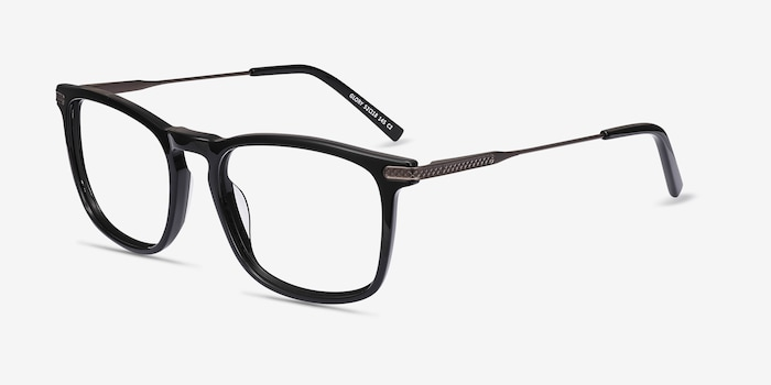 Glory Black Acetate Eyeglass Frames from EyeBuyDirect, Angle View
