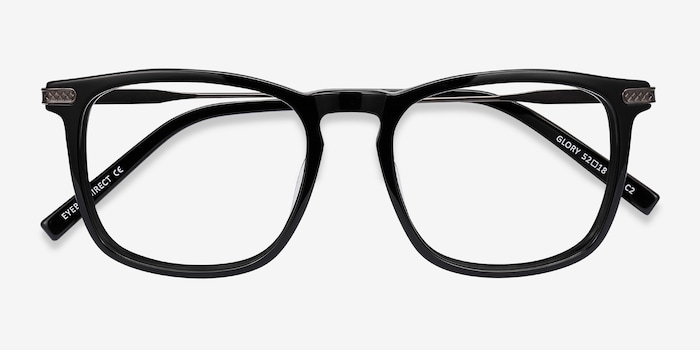 Glory Black Acetate Eyeglass Frames from EyeBuyDirect, Closed View