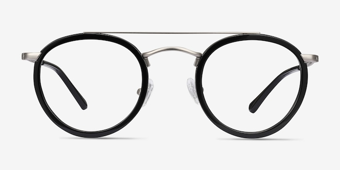 Architect Black Silver Acetate Eyeglass Frames from EyeBuyDirect, Front View