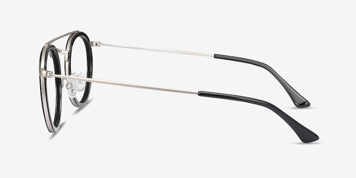 Architect Black Silver Acetate Eyeglass Frames from EyeBuyDirect, Side View