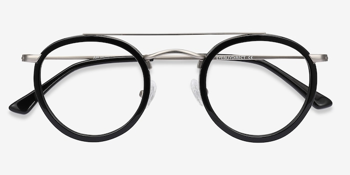 Architect Black Silver Acetate Eyeglass Frames from EyeBuyDirect, Closed View