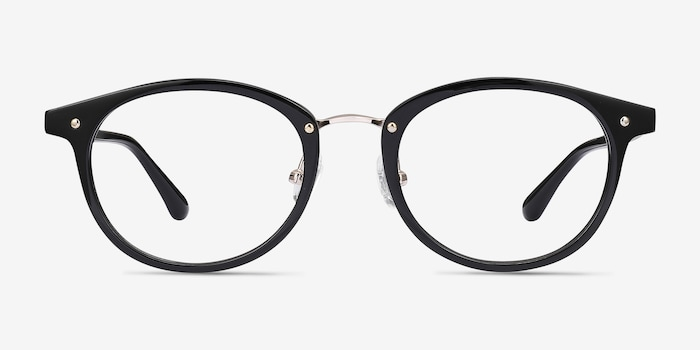 Fetching Black Golden Acetate Eyeglass Frames from EyeBuyDirect, Front View