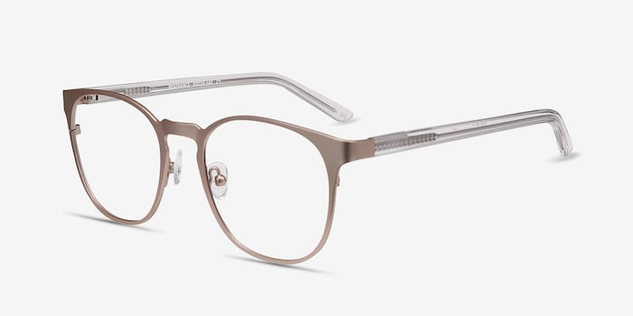 Resonance Rose Gold Acetate Eyeglass Frames from EyeBuyDirect, Angle View