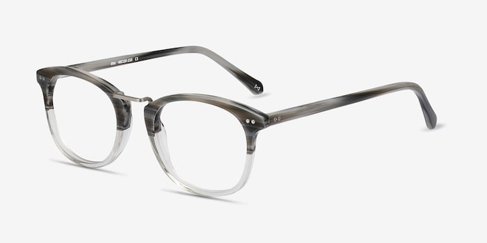 Era Gray Striped Acetate Eyeglass Frames from EyeBuyDirect, Angle View