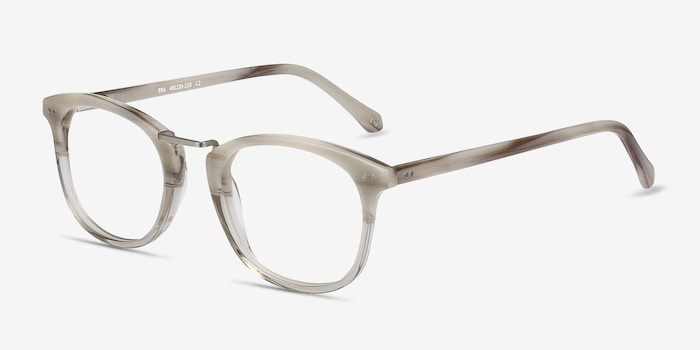 Era Gray Clear Acetate Eyeglass Frames from EyeBuyDirect, Angle View