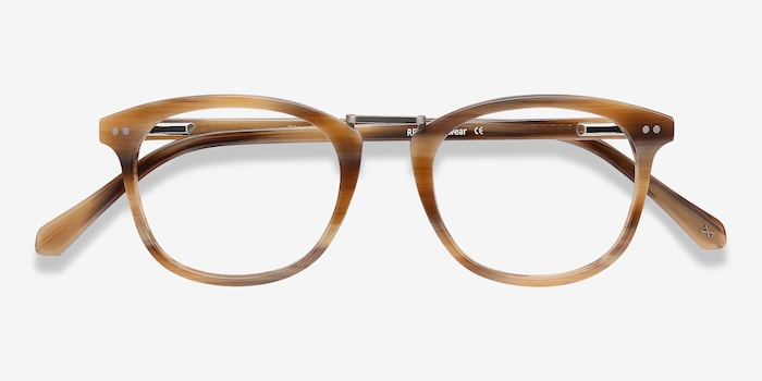 Era Brown Striped Acetate Eyeglass Frames from EyeBuyDirect, Closed View
