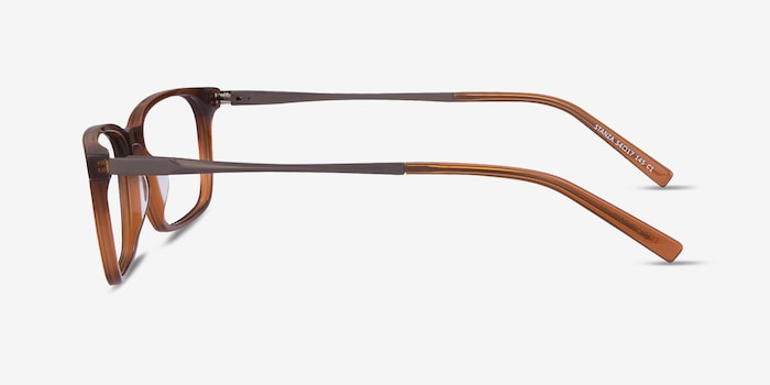 Stanza Brown Acetate Eyeglass Frames from EyeBuyDirect, Side View