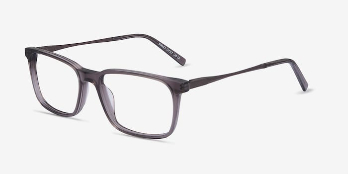Stanza Gray Acetate Eyeglass Frames from EyeBuyDirect, Angle View