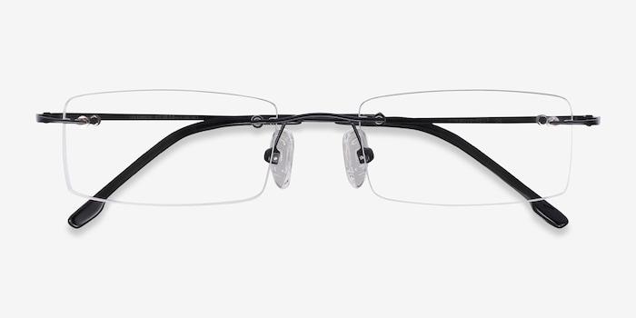 Billings Black Metal Eyeglass Frames from EyeBuyDirect, Closed View