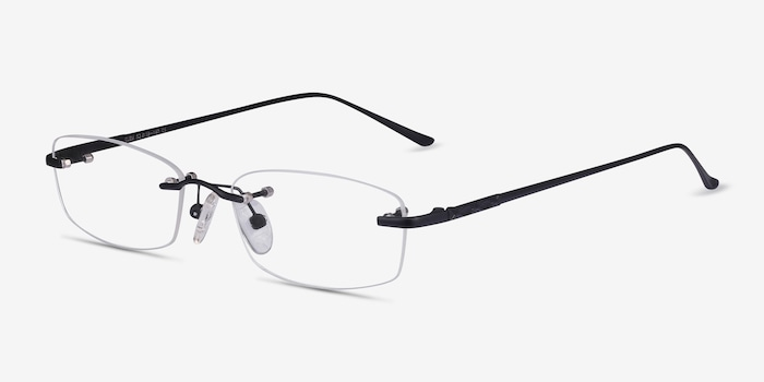 Clem Black Metal Eyeglass Frames from EyeBuyDirect, Angle View