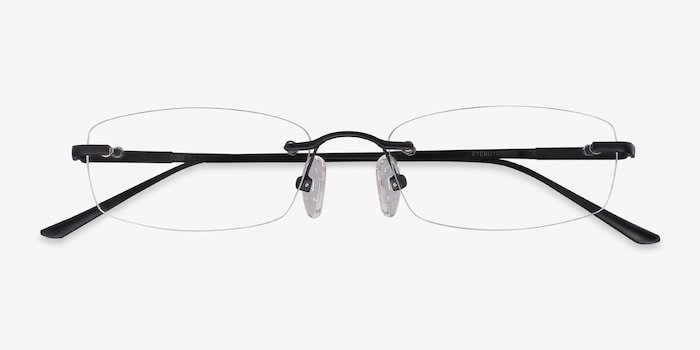 Clem Black Metal Eyeglass Frames from EyeBuyDirect, Closed View