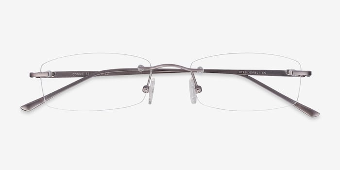 Connie Gunmetal Metal Eyeglass Frames from EyeBuyDirect, Closed View
