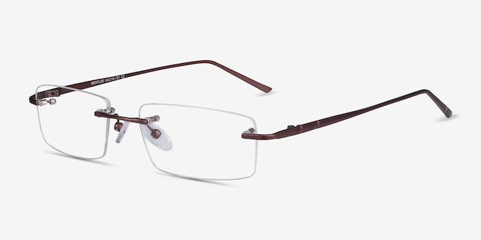 Bentlee Coffee Metal Eyeglass Frames from EyeBuyDirect, Angle View
