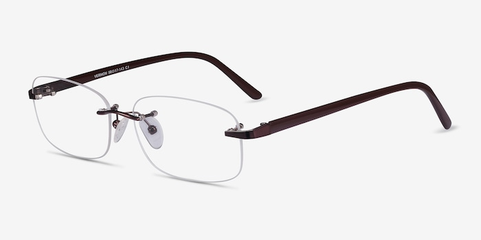 Vernon Brown Acetate Eyeglass Frames from EyeBuyDirect, Angle View