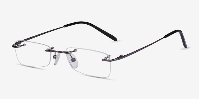 South  Gunmetal  Metal Eyeglass Frames from EyeBuyDirect, Angle View