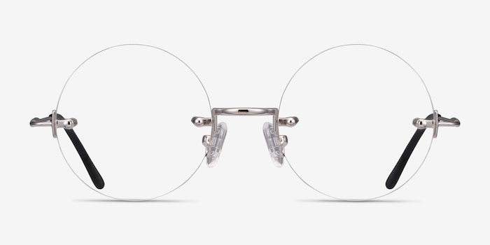 Palo Alto Silver Metal Eyeglass Frames from EyeBuyDirect, Front View