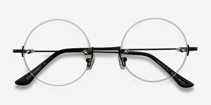 Palo Alto Black Metal Eyeglass Frames from EyeBuyDirect, Closed View