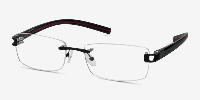 Flow Black Acetate Eyeglass Frames from EyeBuyDirect, Angle View