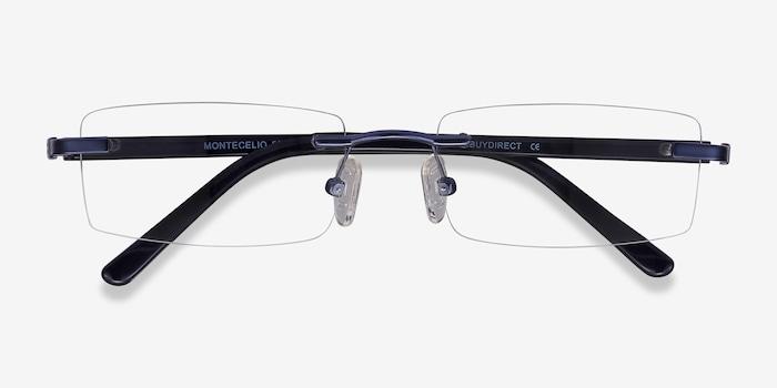 Montecelio Navy Metal Eyeglass Frames from EyeBuyDirect, Closed View