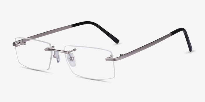 Collector Silver Metal Eyeglass Frames from EyeBuyDirect, Angle View