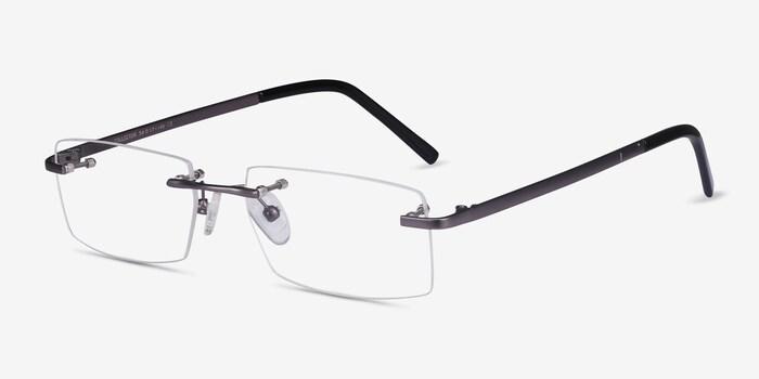 Collector Gunmetal Metal Eyeglass Frames from EyeBuyDirect, Angle View
