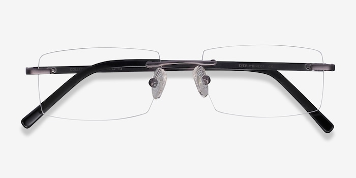 Collector Gunmetal Metal Eyeglass Frames from EyeBuyDirect, Closed View