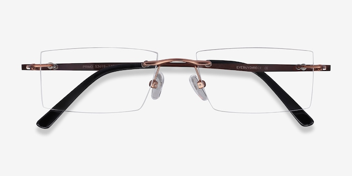 Primo Coffee Metal Eyeglass Frames from EyeBuyDirect, Closed View