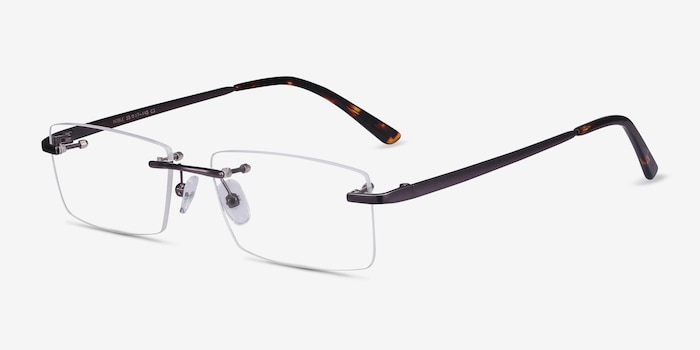 Noble Gunmetal Metal Eyeglass Frames from EyeBuyDirect, Angle View