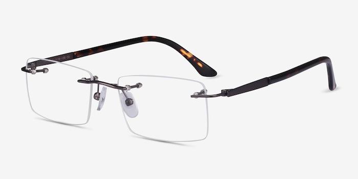 Orion Dark Gunmetal Metal Eyeglass Frames from EyeBuyDirect, Angle View
