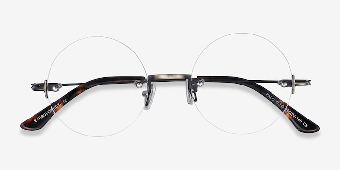 Palo Alto Bronze Metal Eyeglass Frames from EyeBuyDirect, Closed View