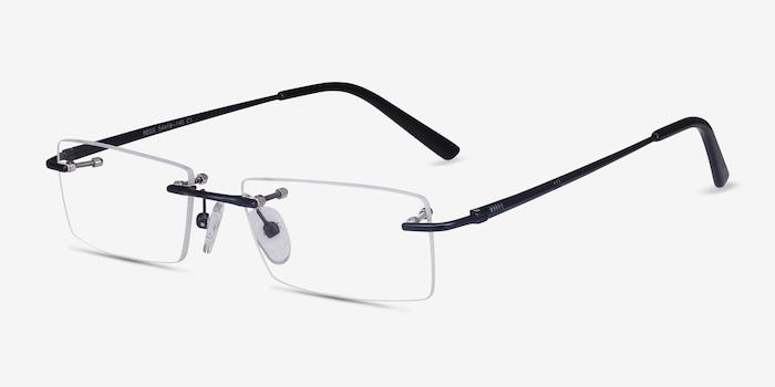 Regis Blue Metal Eyeglass Frames from EyeBuyDirect, Angle View