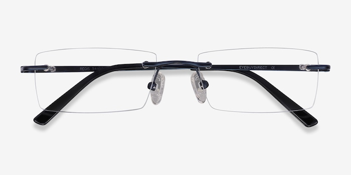 Regis Blue Metal Eyeglass Frames from EyeBuyDirect, Closed View