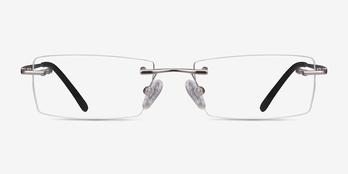 Regis Silver Metal Eyeglass Frames from EyeBuyDirect, Front View