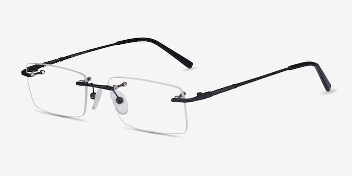 Earl Black Metal Eyeglass Frames from EyeBuyDirect, Angle View
