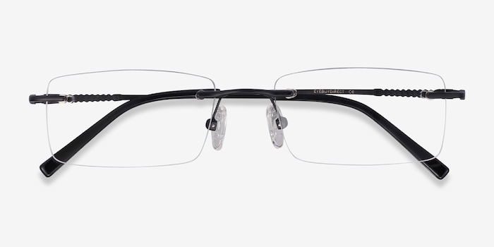 Earl Black Metal Eyeglass Frames from EyeBuyDirect, Closed View