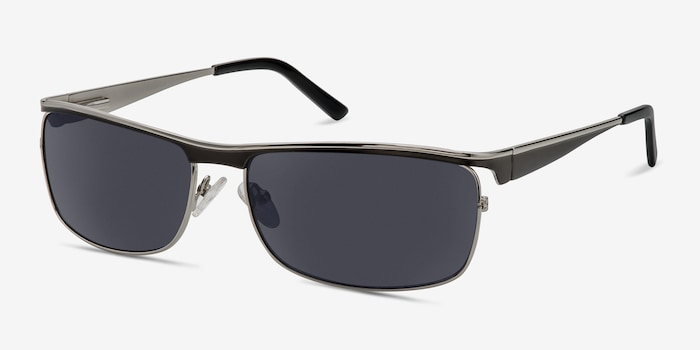 Brighton Silver/Black Metal Sunglass Frames from EyeBuyDirect, Angle View