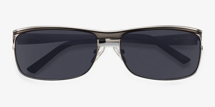 Brighton Silver/Black Metal Sunglass Frames from EyeBuyDirect, Closed View