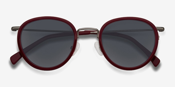 Siena Red Acetate Sunglass Frames from EyeBuyDirect, Closed View