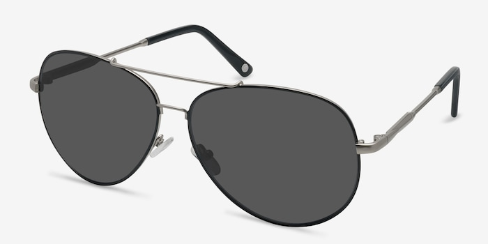 Camp  Black Silver  Metal Sunglass Frames from EyeBuyDirect, Angle View