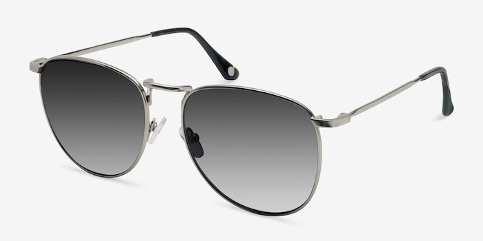 Fume Silver Metal Sunglass Frames from EyeBuyDirect, Angle View